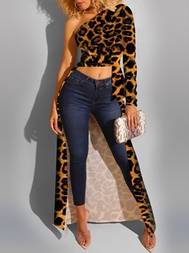 Ericdress Regular Leopard Print Women's Long Sleeve Long Blouse