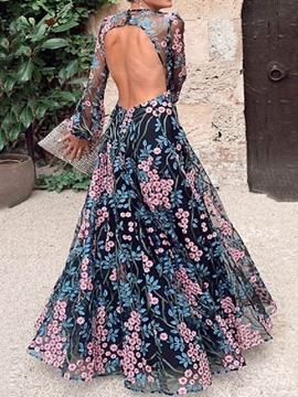 ericdress étage longueur col rond lanterne manches pull femmes robe