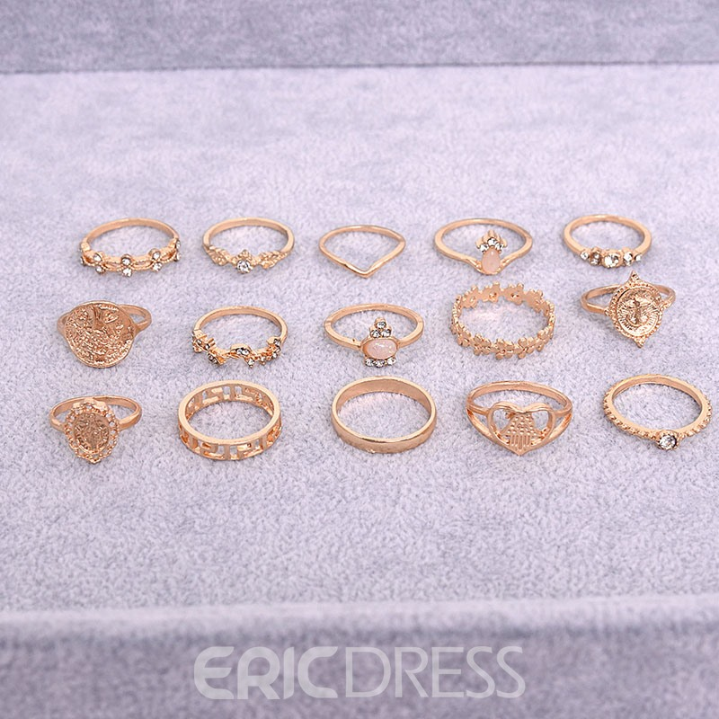 Ericdress Diamante Vintage Holiday Women's Rings