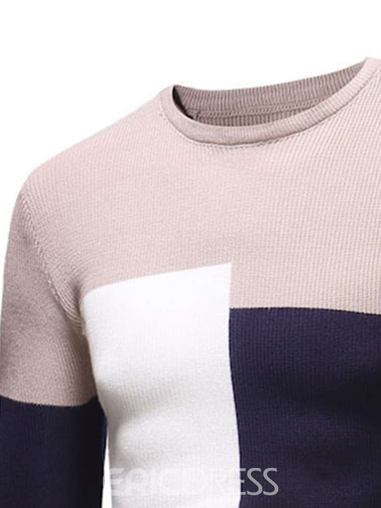 Ericdress Patchwork Round Neck Color Block Fall Men's Casual Sweater