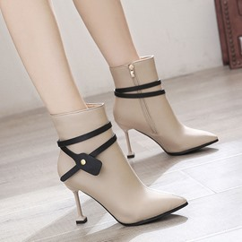 Ericdress Side Zipper Pointed Toe Thread Ankle Boots