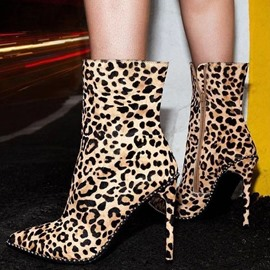 Ericdress Side Zipper Leopard Pointed Toe Boots