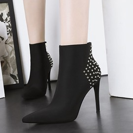 Ericdress Pointed Toe Side Zipper Plain Ankle Boots