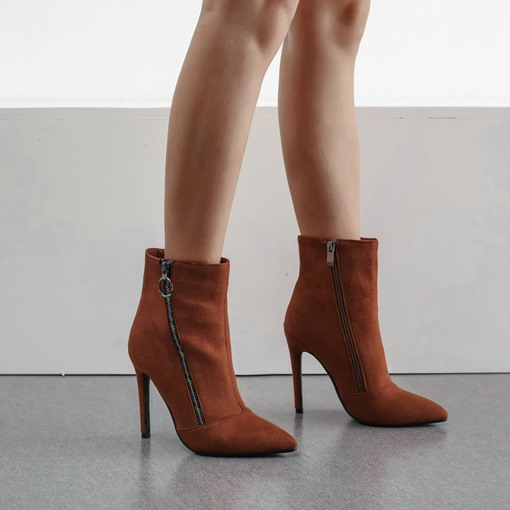 Ericdress Pointed Toe Side Zipper Casual High Heel Boots