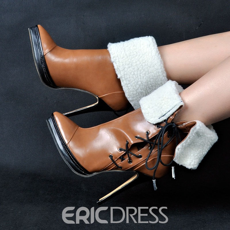 Ericdress Lace-Up Front Pointed Toe Color Block Ankle Boots