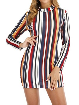 Ericdress Print Stand Collar Long Sleeve Mid Waist Women's Dress