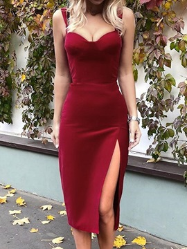 ericdress ärmellose Mitte der Wade Split Party / Cocktail schlichtes Frauenkleid