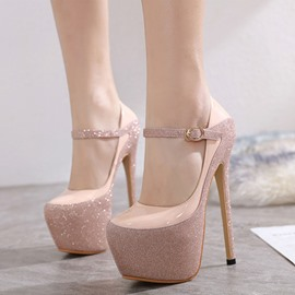 Ericdress Buckle Stiletto Heel Round Toe Pumps