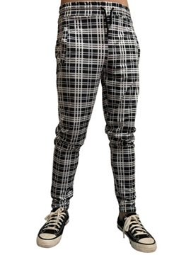 Ericdress Plaid Print Pencil Lace-Up Men's Casual Pants