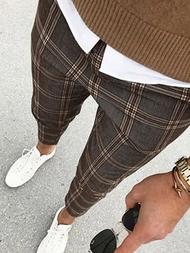 Ericdress Print Plaid Pencil Pants Fall Men's Casual Pants