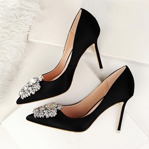 Ericdress Rhinestone Stiletto Heel Slip-On Prom Shoes