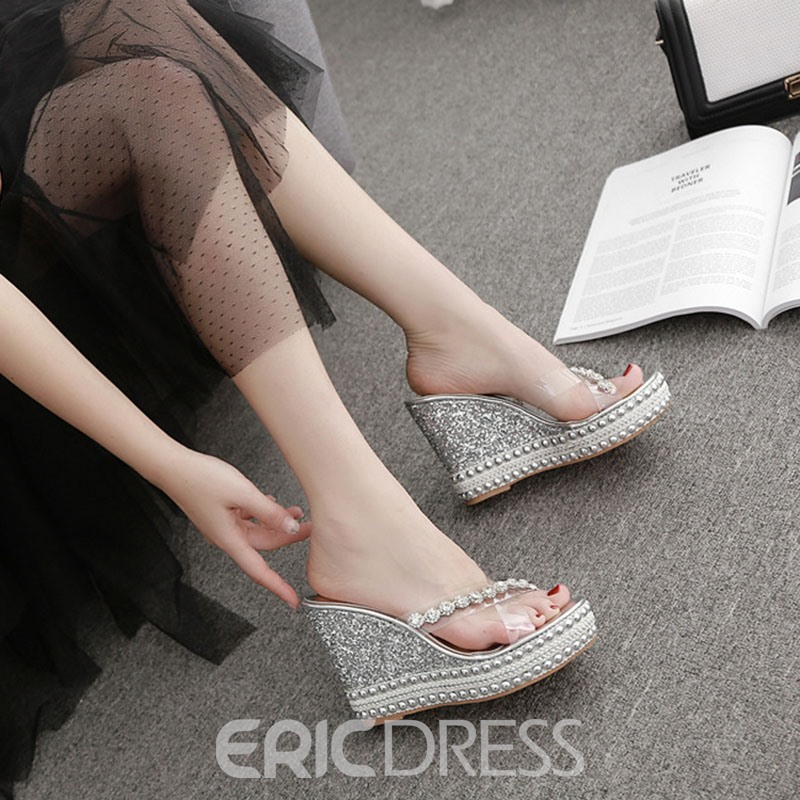 Ericdress Wedge Heel Cross Rhinestone Western Slippers