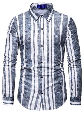 Ericdress Print Stripe Lapel Men's Slim Shirt