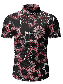 Ericdress Geometric Print Lapel Men's Slim Shirt