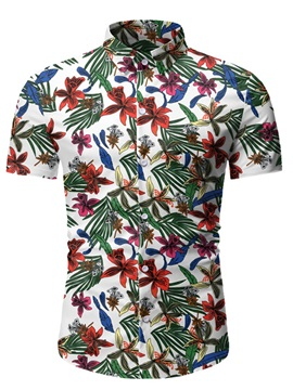 Ericdress Lapel Plant Casual Single-Breasted Men's Slim Shirt