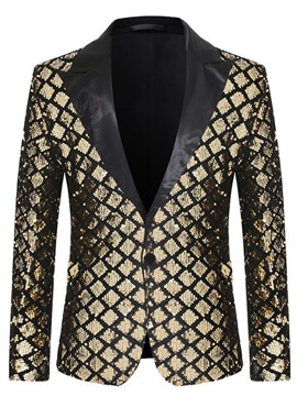 Ericdress Slim Sequins Notched Lapel Men's Leisure Blazers