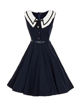 Ericdress Crew Neck Patchwork Mid-Calf Women's Sweet Dress
