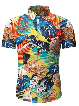 Ericdress Print Casual Plant Men's Slim Shirt
