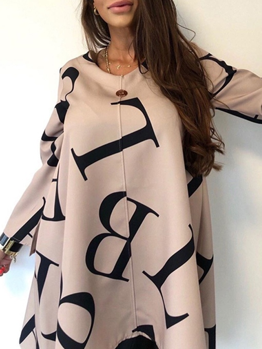 Ericdress Letter Long Sleeve Mid-Length Casual Loose Women's T-Shirt