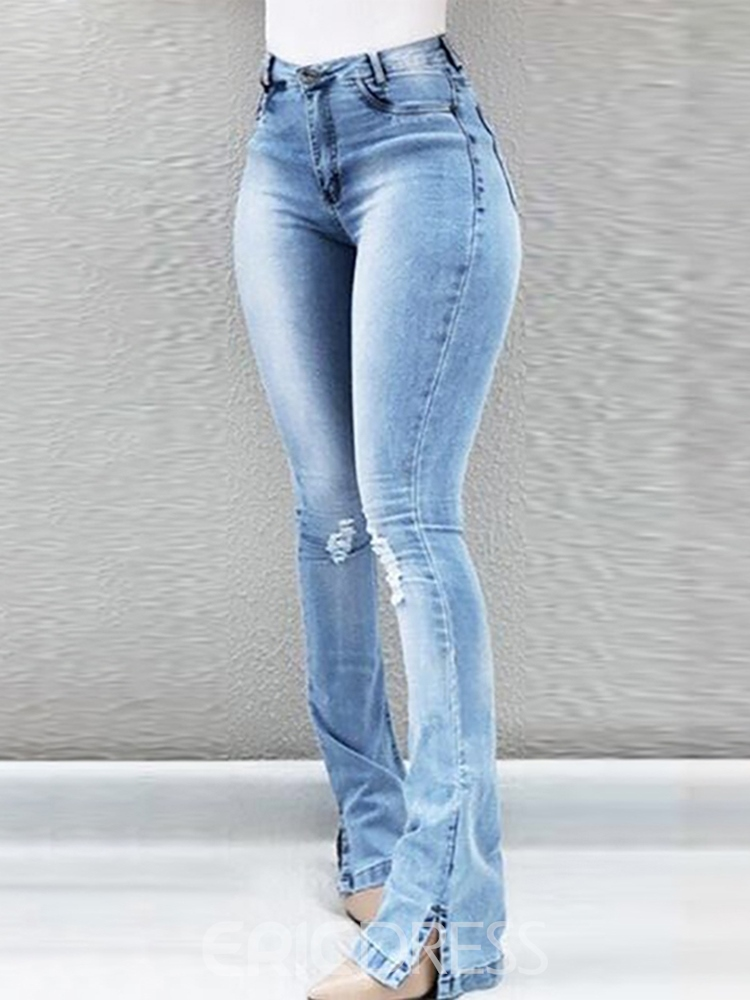 Ericdress Hole Zipper Skinny Women's Slim Jeans