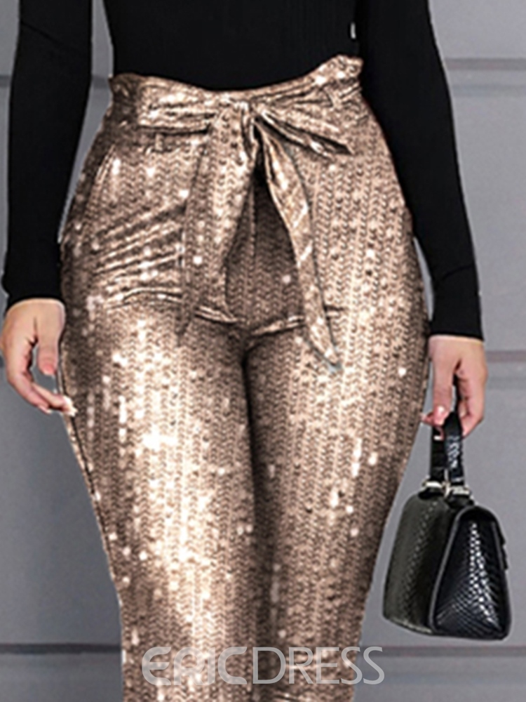 Ericdress Sequins Skinny Pencil Pants Women's Casual Pants