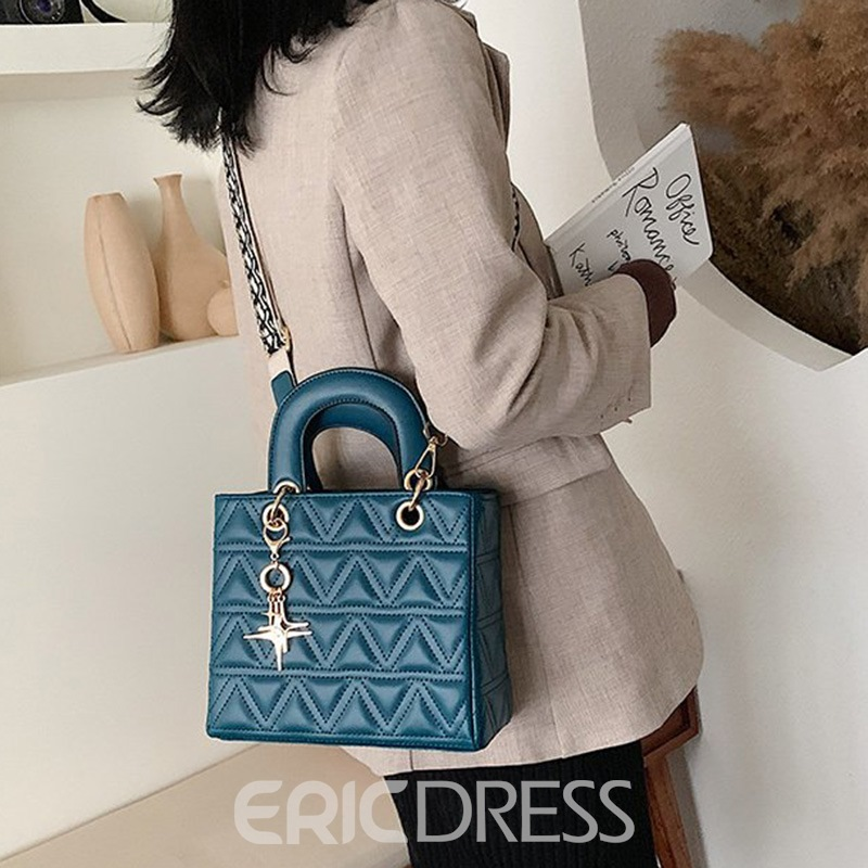 Ericdress Quilted Lining PU Rectangle Tote Bags