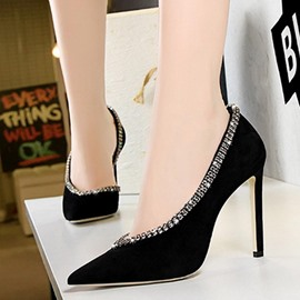 Ericdress Stiletto Heel Pointed Toe Slip-On Low-Cut Upper Pumps