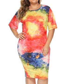 Ericdress Half Sleeve Tie-Dye Mid-Calf Date Night/Going Women's Dress