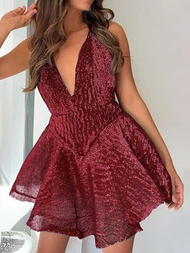 Ericdress Sequins Above Knee V-Neck A-Line Women's Pullover Dress