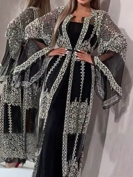 Ericdress Sequins Long Straight Long Sleeve Trench Women's Coat
