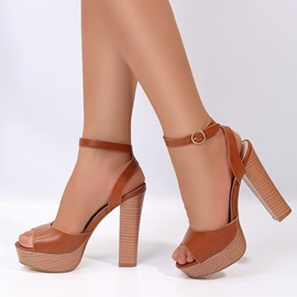 Ericdress Peep Toe Line-Style Buckle Western Chunky Sandals