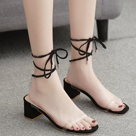 Ericdress Open Toe Blockabsatz Schnür-Casual Sandalen