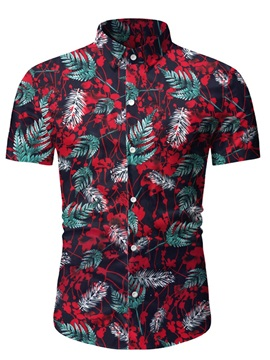 Ericdress Lapel Plant Print Single-Breasted Men's Shirt