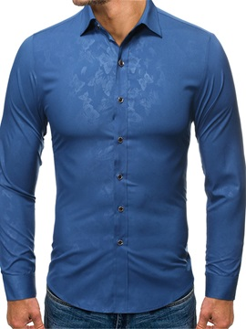 Ericdress Print Lapel Casual Slim Single-Breasted Men's Shirt
