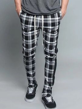 Ericdress Plaid Harem Print Lace-Up Mid Waist Men's Casual Pants