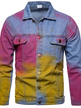 Ericdress Lapel Color Block Tie-Dye Casual Men's Jacket