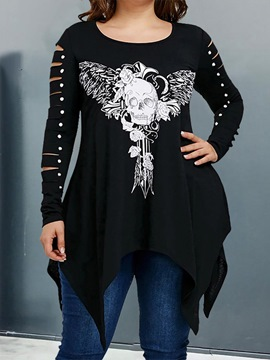 Ericdress Mid-Length Long Sleeve Skull Casual Fall Women's T-Shirt