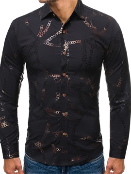 Ericdress Casual Geometric Lapel Single-Breasted Men's Slim Shirt