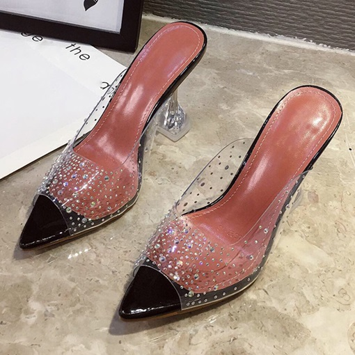 Ericdress Slip-On Rhinestone Spool Heel Western Slippers