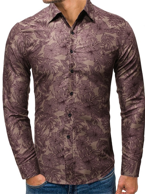 Ericdress Casual Plant Lapel Single-Breasted Men's Slim Shirt