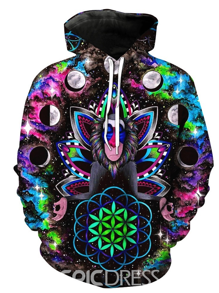 Ericdress Pullover Print Thick Loose Men's Hoodies