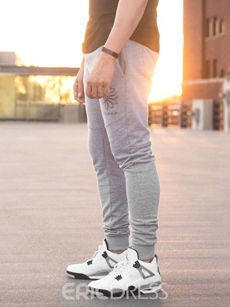 Ericdress Print Pencil Pants Lace-Up Men's Casual Pants