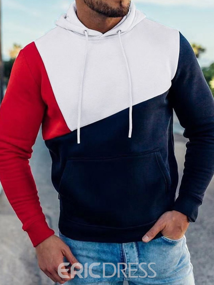 Ericdress Color Block Thick Fall Pullover Men's Hoodies