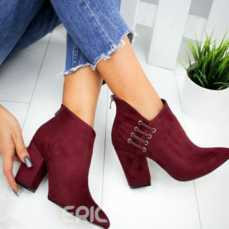 Ericdress Plain Back Zip Pointed Toe PU Ankle Boots