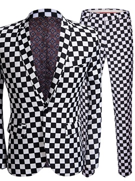 Ericdress Pants Plaid Print Men's Dress Suit