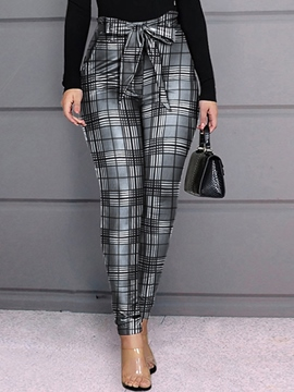Ericdress Plaid Print Skinny Full Length Pencil Pants Women's Casual Pants