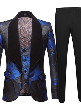Ericdress Pants One Button Floral Men's Dress Suit