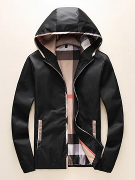 Ericdress Color Block Hooded Patchwork Casual Men's Slim Jacket