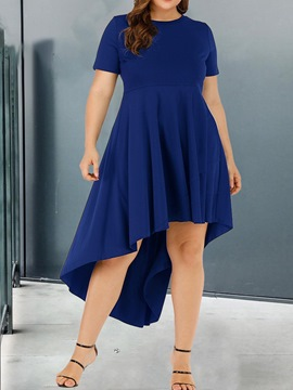 Ericdress Round Neck Short Sleeve Asymmetrical Plus Size Women's Dress