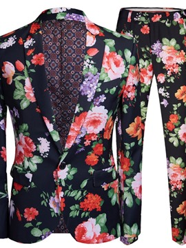 Ericdress Print One Button Pants Men's Dress Suit